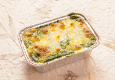 Bake spinach with cheese Stock Images