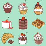 Bake and sweets color set Royalty Free Stock Photo
