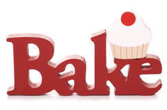 Bake text. Word bake in red studio cutout Royalty Free Stock Photography
