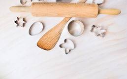 Bake Tolls And Easter Cookie Cutters On White Wooden Background, Top View Stock Images