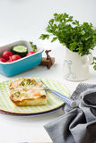 Bake with vegetables and schrimps. On wooden white background Stock Image