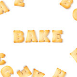 Bake word with Biscuit font Royalty Free Stock Photos