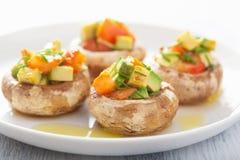 Baked充塞了与菜的蘑菇 图库摄影