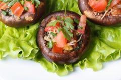 Baked充塞了宏观portobello的蘑菇 顶视图 免版税图库摄影