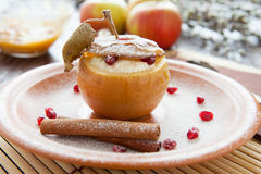 Baked apple with cheese and honey Stock Photo