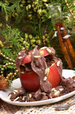 Baked apple with chocolate pudding Royalty Free Stock Photos