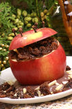 Baked apple with chocolate pudding Stock Photography