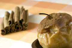 Baked apple with cinnamon Royalty Free Stock Photo