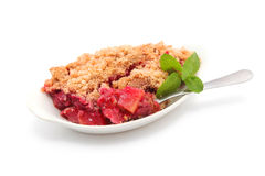 Baked Apple and cranberry crumble Stock Photos