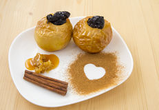 Baked apple with honey Stock Image