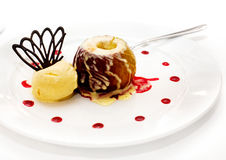 Baked apple with ice cream Royalty Free Stock Images