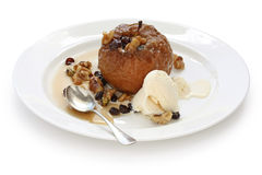 Baked apple with ice cream Stock Photography