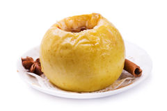 Baked apple isolated on a white background Royalty Free Stock Photography