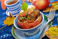 Baked apple with liver and onion Royalty Free Stock Photography