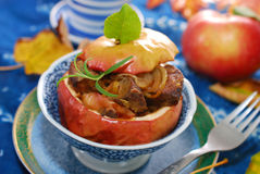 Baked apple with liver and onion Royalty Free Stock Photos