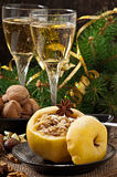 Baked apple with nuts, honey and oat flakes Royalty Free Stock Photo