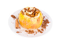 Baked apple with nuts Royalty Free Stock Photo