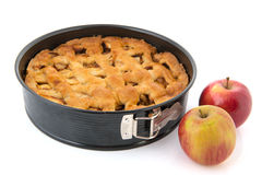 Baked apple pie with fresh fruit Stock Photography
