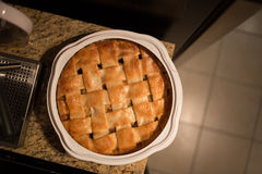 Baked Apple Pie. An apple pie sits on the counter Stock Image