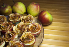 Baked apple pies in form of roses Royalty Free Stock Photos