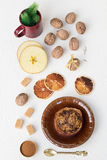 Baked Apple Stuffed with Walnuts, Cinnamon and Brown Sugar Royalty Free Stock Photos