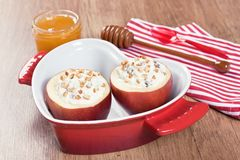 Baked apple sweet desert with cream cheese Royalty Free Stock Photo