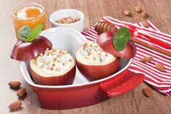 Baked apple sweet desert with cream cheese Stock Images