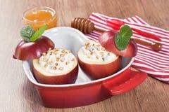 Baked apple sweet desert with cream cheeset Royalty Free Stock Photos