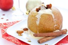 Baked Apple With Raisin Stock Photo