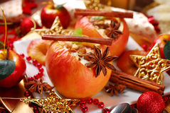 Baked apples with cheese and raisins for christmas Stock Photos