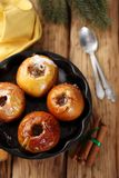 Baked apples with cinnamon, top view Stock Photos
