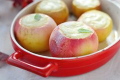Baked apples with cottage cheese Royalty Free Stock Photo