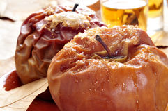 Baked apples and dessert wine Royalty Free Stock Images