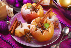 Baked apples with nuts and raisins for christmas Stock Images