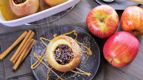 Baked apples. Organic baked apples served with vanilla ice cream stock video