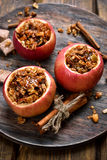 Baked apples stuffed with granola Stock Photography