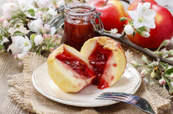 Baked apples stuffed with jam Royalty Free Stock Images