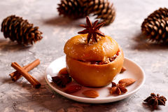 Baked apples with walnuts and honey, autumn food,healthy food Stock Images