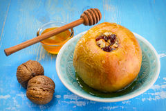 Baked Apples With Nuts And Honey Stock Images