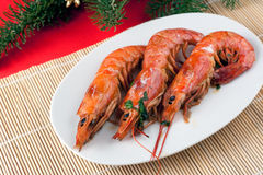 Baked Argentinian Prawns in White Wine Stock Photography