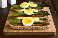 Baked Asparagus, Ham, Egg and Cheese Sandwich Royalty Free Stock Photography