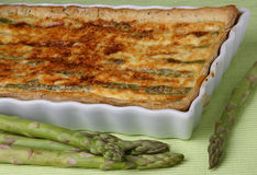 Baked asparagus pie Stock Images