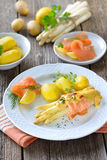 Baked asparagus with salmon Royalty Free Stock Images