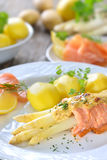 Baked asparagus with salmon Stock Images