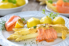 Baked asparagus with salmon Stock Photo