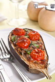 Baked aubergine stuffed with cheese Stock Image