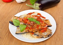 Baked Aubergine with Tomato Sauce Royalty Free Stock Photography
