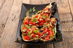 Baked aubergine with vegetable Stock Photo