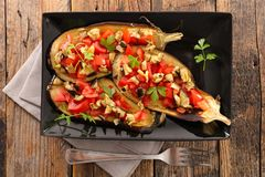 Baked aubergine with vegetable Stock Images