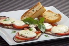 Baked aubergine w tomatoes and mozzarella Royalty Free Stock Image